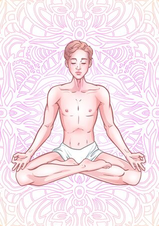 Young meditating yogi man in lotus pose on mandala background. Vector illustration Illustration