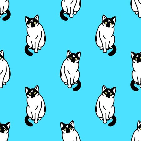 Seamless pattern with cute black and white cats. Texture for wallpapers, stationery, fabric, wrap, web page backgrounds, vector illustration Illustration
