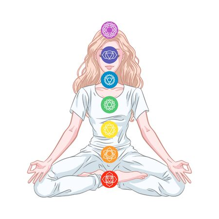 Seven chakra system in human body, infographic with meditating yogi woman, vector illustration Illustration