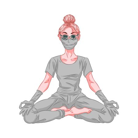 Woman in mask and gloves, coronavirus protection, mediating in lotus pose. Vector illustration Çizim
