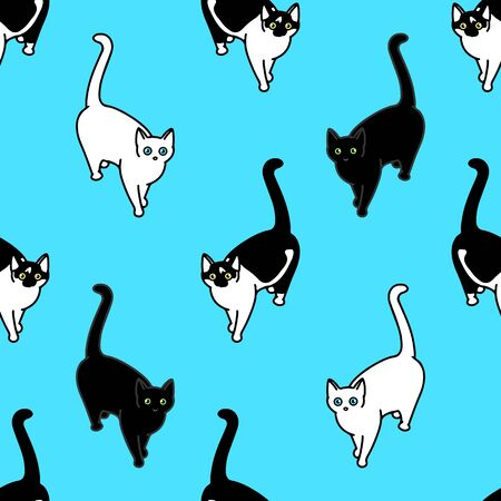 Seamless pattern with cute black and white cats. Texture for wallpapers, stationery, fabric, wrap, web page backgrounds, vector illustration