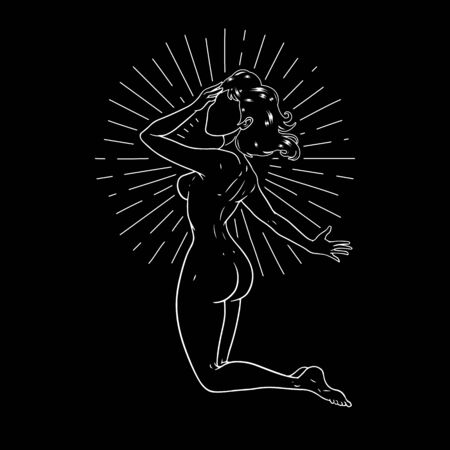 Beautiful girl on her knees, esoteric theme, peace of mind, space goddess. Vector illustration