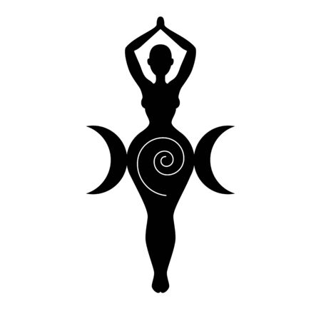 Sprial (triple) Goddess, beautiful woman figure respresenting moon cycles, fertility, feminine power. Wiccan traditional symbol. Vector illustration
