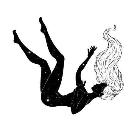 Beautiful girl floating through space, stars background, esoteric theme. Vector illustration