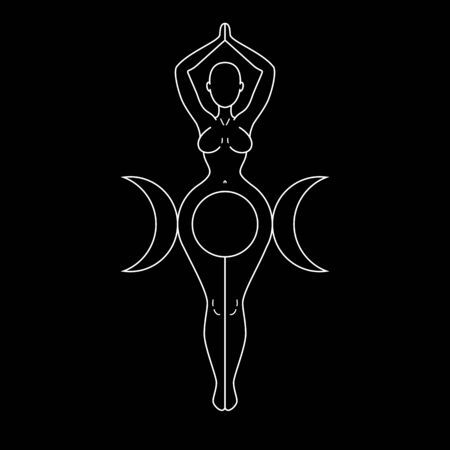 Triple Goddess, beautiful woman figure respresenting moon cycles, Wiccan traditional symbol. Vector illustration