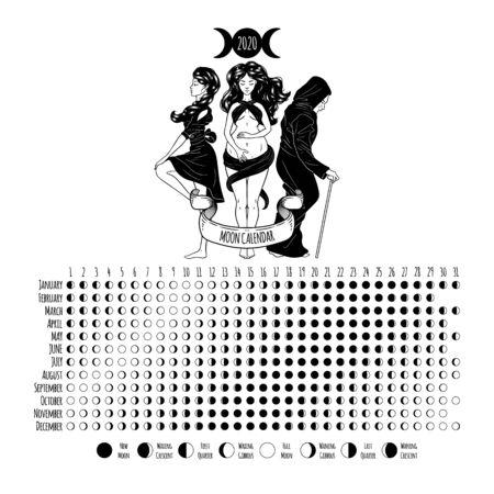 Moon calendar, 2020 year, lunar phases, cycles. Design illustrated with Triple Goddess symbol: Maiden, Mother and Crone. Vector illustration Vektoros illusztráció