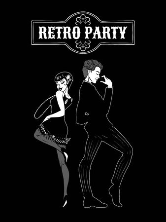 Man and woman dressed in 1920s style dancing, black and white card, flapper girl, handsome guy in vintage suit, twenties, vector illustration