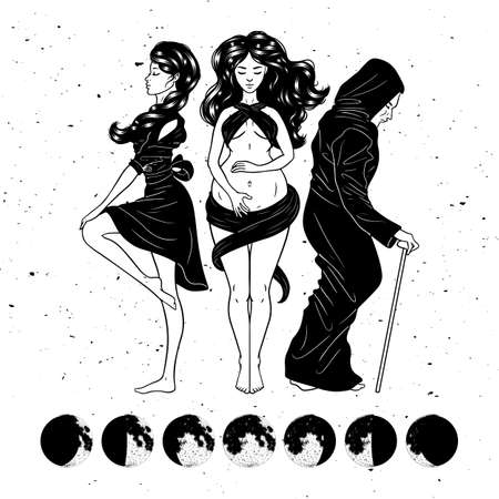 Three women figures, symbol of Triple goddess as Maiden, Mother and Crone, moon phases. Hekate, mythology, wicca, witchcraft. Vector illustration Vektoros illusztráció