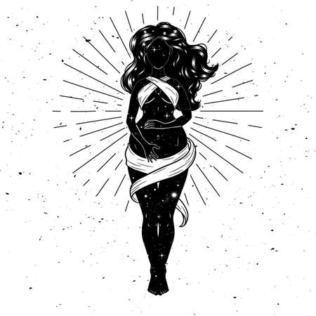 Beautiful pregnant woman figure, mother goddess, esoteric theme. Vector illustration