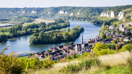 tilt: Tilt shift landscape normandy Stock Photo