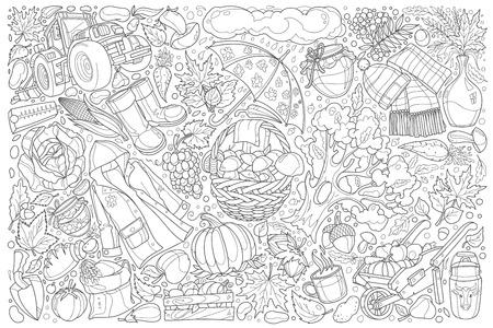 Hand drawn Autumn doodle set vector illustration background Ilustração