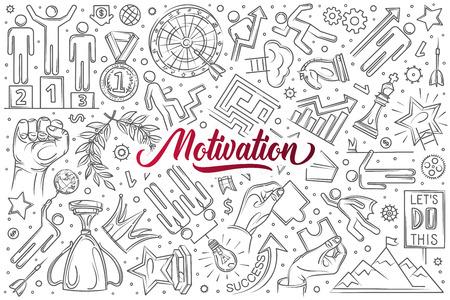 Hand drawn motivation set doodle vector illustration background Illusztráció
