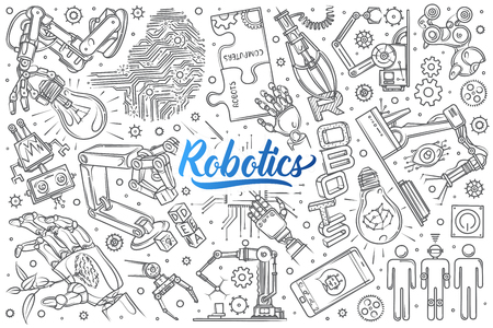 Hand drawn robotics set doodle vector background Иллюстрация