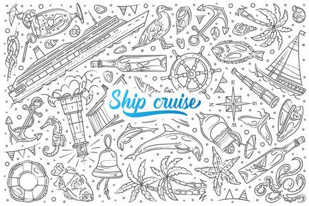 Hand drawn ship cruise set doodle vector illustration background