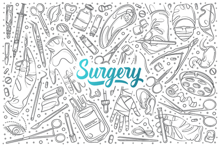 Hand drawn surgery set doodle vector background Vector Illustration