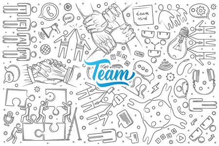 Hand drawn team set doodle vector illustration background