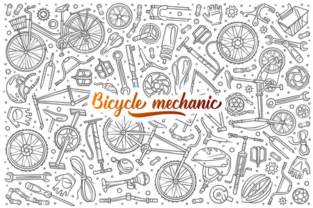 Hand drawn bicycle mechanic set doodle vector illustration background Ilustração