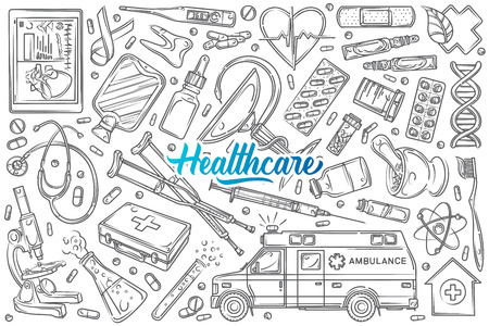 Hand drawn helthcare set doodle vector illustration background