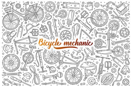 Hand drawn bicycle mechanic set doodle vector background 版權商用圖片