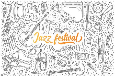 Hand drawn Jazz festival set doodle vector background Stock Photo
