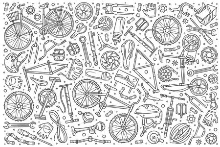 Hand gezeichneter Fahrradmechaniker stellte Gekritzelvektorillustrationshintergrund ein
