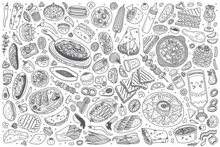 Hand drawn Mexican food set doodle vector illustration background Illustration