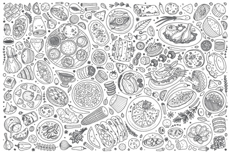 Dibujado a mano comida india establece fondo de ilustración de vector de doodle Ilustración de vector