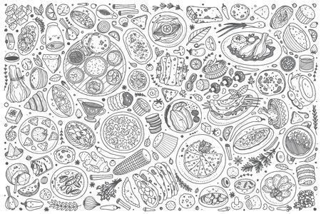Fondo dell'illustrazione di vettore di scarabocchio stabilito dell'alimento indiano disegnato a mano Vettoriali