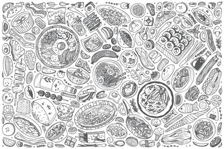 Dibujado a mano comida coreana establece fondo de ilustración de vector de doodle
