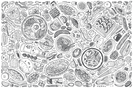 Hand drawn Korean food set doodle vector illustration background 免版税图像 - 126815798