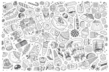 Hand drawn pirates set doodle vector illustration background Векторная Иллюстрация