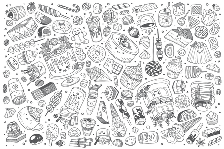 Hand drawn pirates set doodle vector illustration background