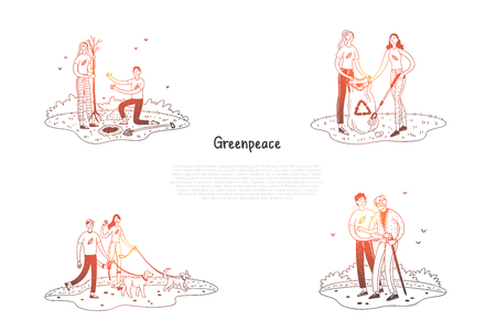 Greenpeace - people collecting garbage, planting trees, helping elderly people, walking dogs vector concept set. Hand drawn sketch isolated illustration Ilustracja