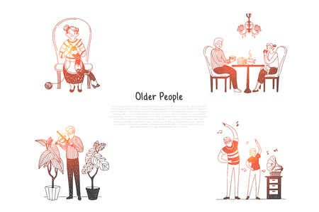 Older people - elderly people knitting, drinking tea, playing violin and making exercises with grandchildren vector concept set. Hand drawn sketch isolated illustration Illustration