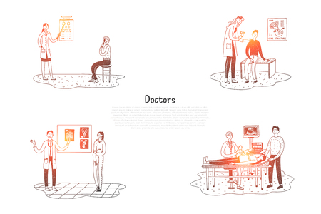 Doctors - oculist, surgeon, otolaryngologist, therapist with patients vector concept set. Hand drawn sketch isolated illustration Banque d'images - 124931523