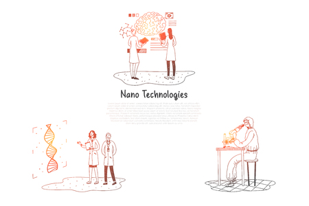 Nano technologies - scientists making research in laboratories vector concept set. Hand drawn sketch isolated illustration Illustration