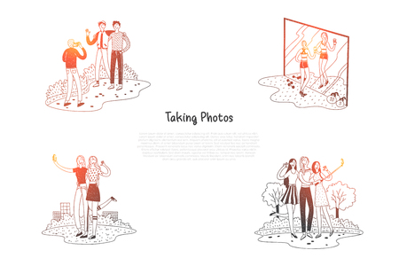 Taking photos - people making photos and selfie in gym and outdoors vector concept set. Hand drawn sketch isolated illustration Illustration