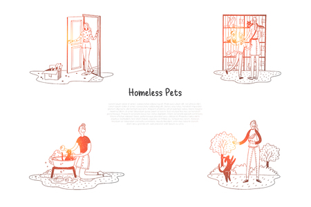 Homeless pets - animals in cages and in boxes on street and people taking care of them vector concept set. Hand drawn sketch isolated illustration