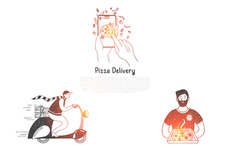 Pizza delivery - ordering pizza from mobile phone, cooking and delivery vector concept set. Hand drawn sketch isolated illustration Illustration