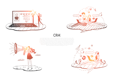 CRM - people communicating and helping each other via laptops and internet vector concept set. Hand drawn sketch isolated illustration Illustration