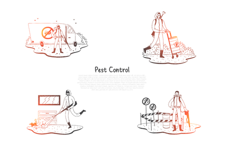 Pest control - special workers in uniform with equipment taking control of pests on nature and at home vector concept set. Hand drawn sketch isolated illustration Illustration