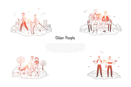 Older people - elderly people making exercises, walking, reading and having active lifestyle vector concept set. Hand drawn sketch isolated illustration Ilustração