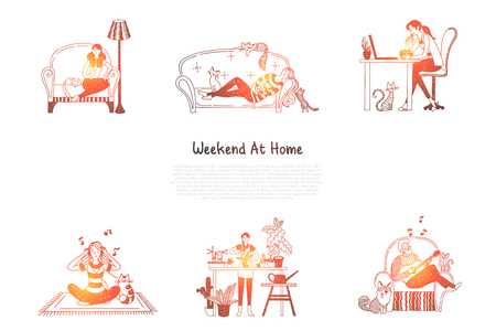 Weekend at home - woman reading and having rest on sofa, eating and wathing movie on laptop, doing yoga and taking care of flowers and man singing with guitar vector concept set. Hand drawn sketch isolated illustration