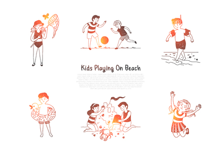 Kids playing on beach - children making figures from sand, catching butterflies, playing with ball, jumping, swimming vector concept set. Hand drawn sketch isolated illustration
