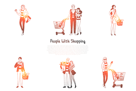 People with shopping - families and people with shopping bags and baskets with purchases vector concept set. Hand drawn sketch isolated illustration Illustration