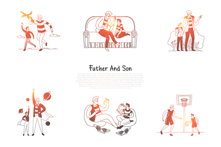 Father and son - father and son reading, eating pizza, playing basketball, learning together vector concept set. Hand drawn sketch isolated illustration