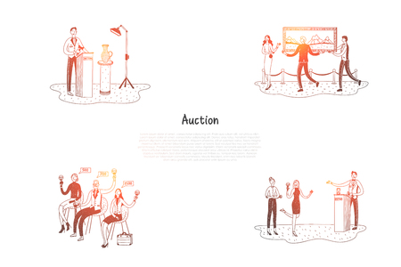Auction - people selling and buying artworks during auction vector concept set. Hand drawn sketch isolated illustration Vettoriali