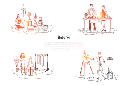 Hobbies - people taking care of plants, cooking, painting, designing clothes vector concept set. Hand drawn sketch isolated illustration Çizim