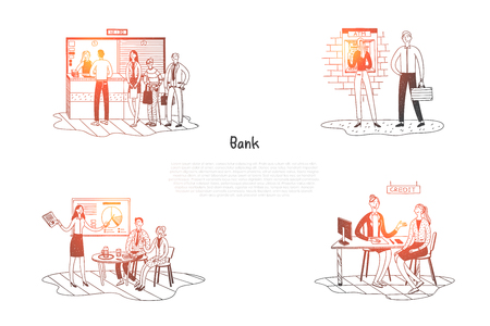 Bank - clients in bank listening to presentation, speaking with specialists, standing in line to cash desk and making withdrawals vector concept set. Hand drawn sketch isolated illustration