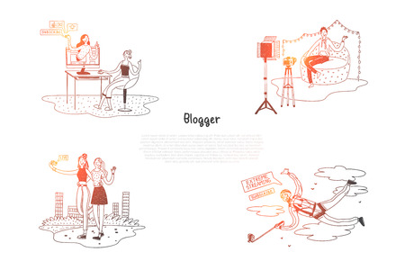 Blogger - girls and boys bloggers making photoes and videos for their blogs vector concept set. Hand drawn sketch isolated illustration